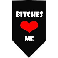 Mirage Pet Products Bitches Love Me Screen Print Bandana For Pets, Small, Black