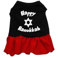 Mirage Pet Products 18-Inch Happy Hanukkah Screen Print Dress, XX-Large, Black With Red