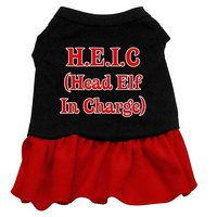 Mirage Pet Products 8-Inch Head Elf In Charge Screen Print Dress, X-Small, Black With Red