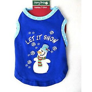 Merry Brite Merry Brite Dog Holiday T Shirt Size Xs Size 8 Inch Let It Snow Snow Man