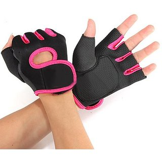 Flammi Sport Cycling Fitness GYM Weightlifting Exercise Half Finger Gloves for Women (Pink)