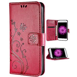 iPhone 6s Walelt Case, FLYEE Emboss Butterfly Flower Premium Leather Folio Flip Style with Card Slots Magnetic Back Cove