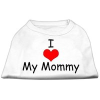 Mirage Pet Products 14-Inch I Love My Mommy Screen Print Shirts For Pets, Large, White