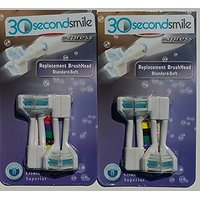 Replacement Dual Brush Heads 30 Second Smile Electric Toothbrush Whitier Teeth Healthier Gums Fresher Breath Reduced Pla
