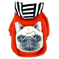 SMALLLEE_LUCKY_STORE YP0165 Dog Cat Coat Costume Cotton Sweater Hoodies Shirt With Backpack, Small, Red