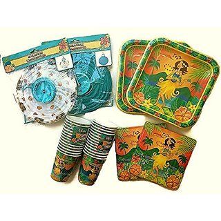 Luau Party Supplies, Paper Plates, Napkins, Cups and Lanterns, 28-serving Set (Hula)