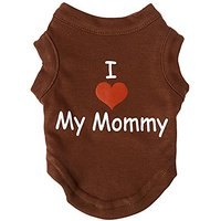 Mirage Pet Products 8-Inch I Love My Mommy Screen Print Shirts For Pets, X-Small, Brown