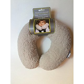 Blankets & Beyond Baby Travel Pillow Neck Support Light Grey