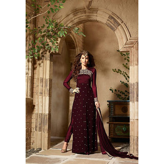Thankar Maroon  Beige Embroidered Georgette Straight Suit