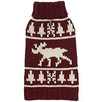 Fab Dog Knit Turtleneck Dog Sweater Burgundy Moose, Burgundy, 24 Length