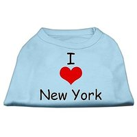 Mirage Pet Products 8-Inch I Love New York Screen Print Shirts For Pets, X-Small, Baby Blue