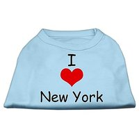 Mirage Pet Products 12-Inch I Love New York Screen Print Shirts For Pets, Medium, Baby Blue