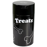 Pawvac 12 Ounce Vacuum Sealed Pet Food Storage Container; Black Cap & Body/White Treats