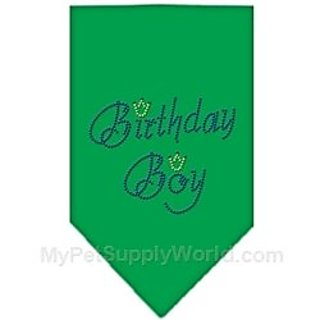 Mirage Pet Products Birthday Boy Rhinestone Bandana, Large, Emerald Green