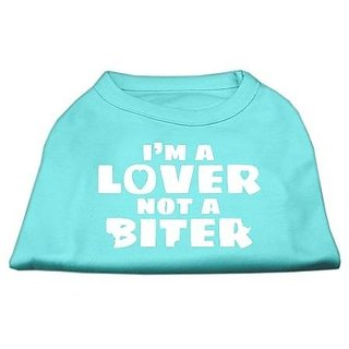Mirage Pet Products 10-Inch Im a Lover Not a Biter Screen Printed Dog Shirts, Small, Aqua