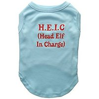 Mirage Pet Products 14-Inch Head Elf In-Charge Screen Print Shirts For Pets, Large, Aqua