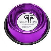 Platinum Pets 3 Cup Non-Embossed Non-Tip Dog Bowl, Purple
