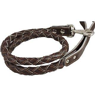 4-thong Round Fully Braided Genuine Leather Dog Leash, 43