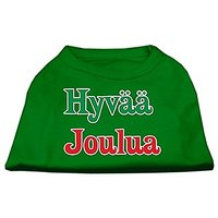 Mirage Pet Products 18-Inch Hyvaa Joulua Screen Print Shirts For Pets, XX-Large, Emerald Green