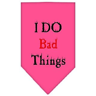 Mirage Pet Products I Do Bad Things Screen Print Bandana for Pets, Large, Bright Pink