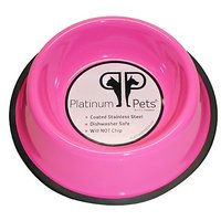 Platinum Pets 6.25 Cup Non-Embossed Non-Tip Dog Bowl, Pink