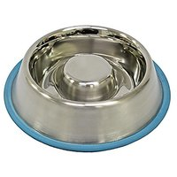 Fuzzy Puppy Pet Products SFD-S Slow Feed Dish With Non-Slip Rubber Ring Dog Bowl, Small