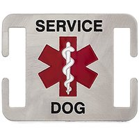 Service Dog ID Tag - Fits Directly On 1 Inch Dog Collar, Harness, Or Leash - Quiet And Silent K9 Service ID Tag