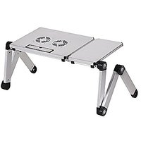NATAMO Adjustable Aluminium Alloy Laptop Riser / Stand / Table With Mouse Pad And Dual Cooling Fan Foldable Notebook Des