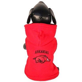 NCAA Arkansas Razorbacks Polar Fleece Hooded Dog Jacket, X-Large