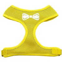 Mirage Pet Products Bow Tie Screen Print Soft Mesh Dog Harnesses, X-Large, Yellow