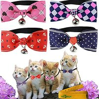 Cute Gentle Stylish Cat Dog Rabbit Pet Bow Tie Collar With Cloth Bowknot And Alloy Bell For Small Cats Kitten Dogs Puppy