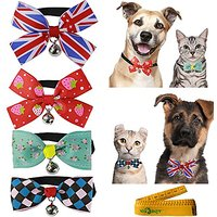 Gentle Stylish Cat Dog Rabbit Pet Cloth Bowknot Bow Tie Collar With Bell For Small Cats Kitten Dogs Puppy Rabbits, Pack
