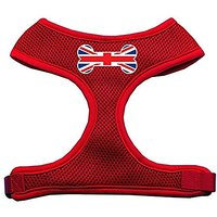 Mirage Pet Products Bone Flag UK Screen Print Soft Mesh Dog Harnesses, X-Large, Red