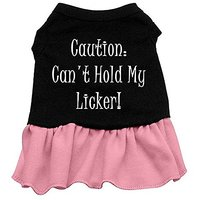 Mirage Pet Products 16-Inch Cant Hold My Licker Screen Print Dress, X-Large, Black With Pink