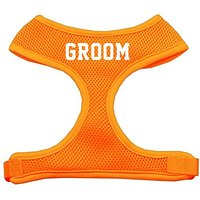 Mirage Pet Products Groom Screen Print Soft Mesh Dog Harnesses, Large, Orange