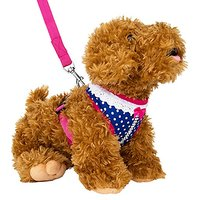 CueCue Pet Studded Polka Dot Choke Free Harness With Leash, Medium, Pink/Blue