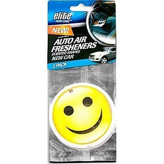 Elite Hanging New Car Scent Smiley Face Air Fresheners- 2 Packs (6 Total Air Fresheners)