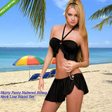 Skirty Panty Haltered String Neck Line Bikini Set