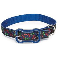 Zack & Zoey Nylon Super Stars N Bones Dog Neck Collar, 11-14-Inch, Blue