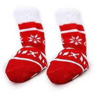 Paws Wishes Christmas Pet Socks Dog Puppy Cat Non-Slip Socks Boot Paw Print Socks Warm Booties Protective Paw Shoes A Se