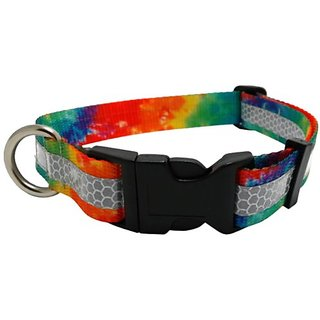 illumidog 14 to 20-Inch Reflective Nika Dog Collar, Medium, Tie-Dye