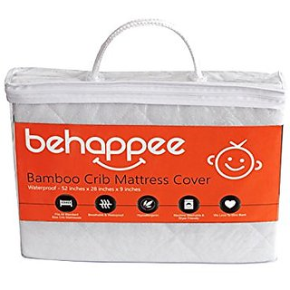 Soft Bamboo Quilted Crib Mattress Protector Pad - Waterproof, Breathable & Hypoallergenic - Fitted Sheet Style Cover - P