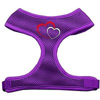 Mirage Pet Products Double Heart Design Soft Mesh Dog Harnesses, Medium, Purple