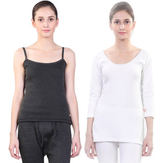 Vimal Winter Premium Black And White Thermal Upper For Women(Pack Of 2)