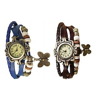 Butterfly Set of Two Blue  Brown Vintage Women Watches by Eglob