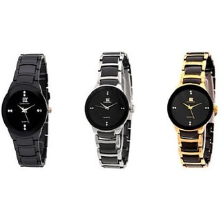 IIK Collection Women Black Silver Go lden Analog Watch - For Women by Eglob