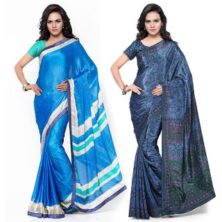 Triveni Alluring Multi Colored  Printed Satin Chiffon Crape Casual Wear Sarees