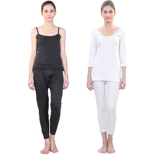 Vimal Winter Premium Black And White Thermal Upper Bottom Set For Women(Pack Of 2)