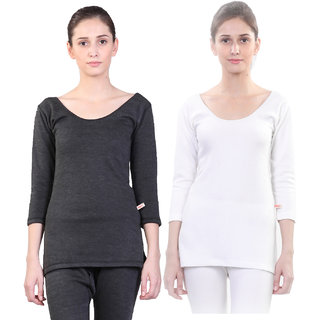 Vimal Winter Premium Black And White Thermal Upper Top For Women(Pack Of 2)
