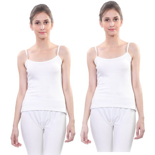 Vimal Winter Premium Thermal White Camisole For Women(Pack Of 2)